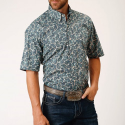 Roper Men's Blue Plaza Paisley Short Sleeve Button Shirt