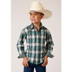 Roper Boy's Green Tan Plaid Long Sleeve Snap Western Shirt