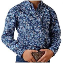 Roper Boys Blue Paisley Button Western Shirt