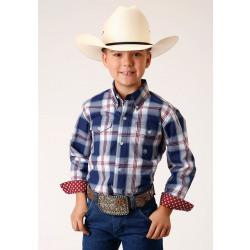 Roper Boy's Blue Red Plaid Button Down Western Shirt