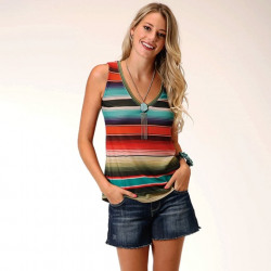 Roper Ladies Sweater Knit Multi Colour Stripped Tank Top