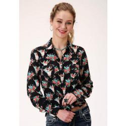 Roper Ladies Floral Skull Print Western Shirt