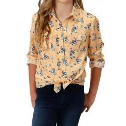 Roper Girls Cactus Bronc Yellow Western Shirt