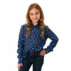 Roper Girls Navy Blue Horse Print Snap Western Shirt