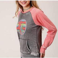Roper Ladies Grey Coral Crush Sleeve Sweatshirt