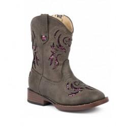 Roper Girls Brown Pink Cutout Cowboy Boots
