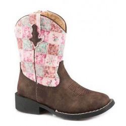 Roper Toddler Floral Shine Brown Western Boots