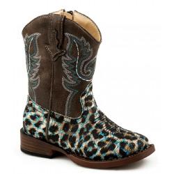 Roper Toddler Glitter Leopard Blue Western Boots