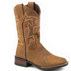 Roper Kids Cowhide Brown Cowboy Boots