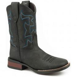 Roper Kids Black Cow Hide Leather Cowboy Boots