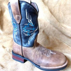 Roper Kids Canadian Tribe Navy Brown Cowboy Boots