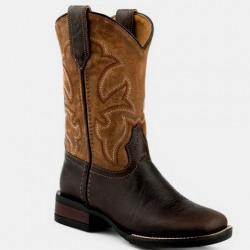 Roper Kids Monterey Star Brown Tan Western Boots