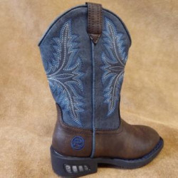 Roper Boy's  Pull On Navy Blue Brown Cowboy Boots