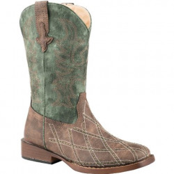 Roper Kids Cross Cut Round Toe Brown Cowboy Boot