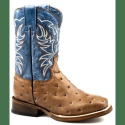 Roper Kids Little Buddy Embossed Ostrich Tan Western Boots