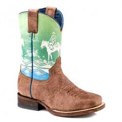 Roper Kids Rider Tan Western Boots