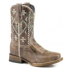 Roper Kids Waxy Brown Out West Cowboy Boots