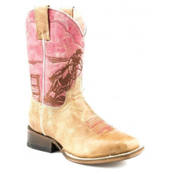 Roper Kids Girls Embroidered Rodeo Barrel Racer Cowboy Boots