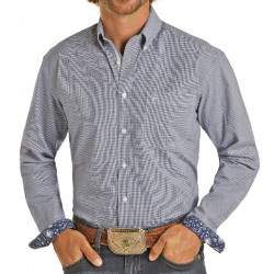 Rough Stock Men's Blue Check Gingham Button Long Sleeve Shirt