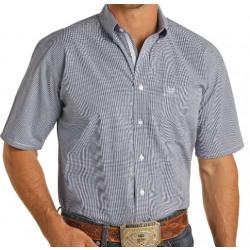 Rough Stock Men's Blue Check Gingham Button Short Sleeve Shirt