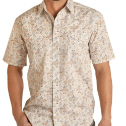 Rough Stock Men's Multi Geo Print Snap Western Shirt