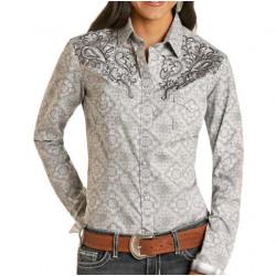 Roughstock Ladies Grey Bandana Print Snap Western Shirt