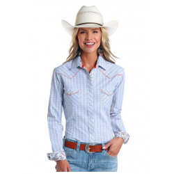 Rough Stock Ladies Rexford Dobby Blue Plaid Snap Western Shirt