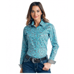 Rough Stock Ladies Turquoise Brown Paisley Snap Western Shirt