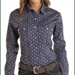 Rough Stock Ladies Navy Geo Print Snap Western Shirt