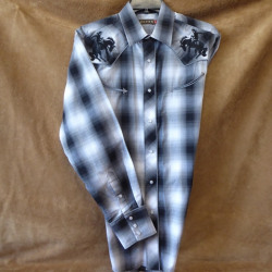 Roper Men's Black Grey Plaid Shirt With Embroidered Bronc