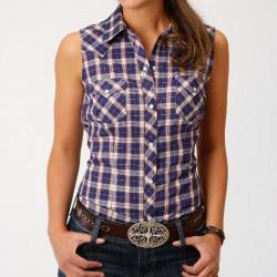 Roper Ladies Short Sleeve Plaid Snap Western Shirt