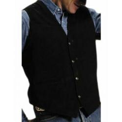 Roper Mens Black Leather Snap Vest