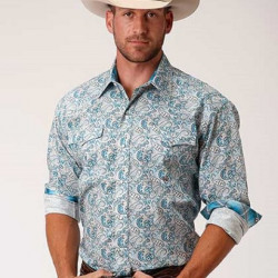 Roper Men's Amariool Turquoise Paisley Snap Western Shirt