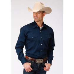 Roper Men's Solid Navy Snap Western Shirt