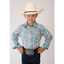 Roper Boy's Blue Paisley Snap Western Shirt