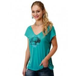 Roper Ladies Short Sleeve V Neck Turquoise Buffalo T Shirt