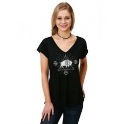 Roper Ladies Short Sleeve V Neck Black Buffalo T Shirt