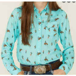 Ropers Girls Turquoise With Cowboy Cactus Print Snap Western Shirt