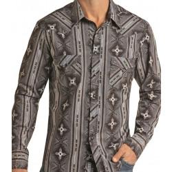 Rock & Roll Beige Aztec Print Western Snap Shirt
