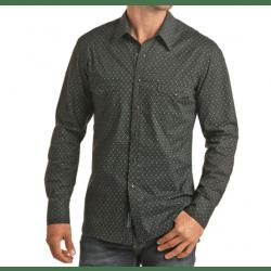 Rock & Roll Men's Long Sleeve Black Teal Geo Print Snap Shirt