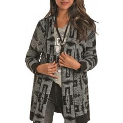 Rock & Roll Cowgirl Grey Black Aztec Print Cardigan