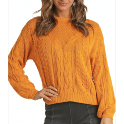 Rock & Roll Cowgirl Yellow Cable Knit Sweater