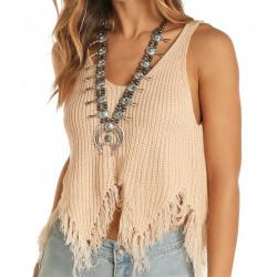 Rock & Roll Cowgirl Ladies Frayed Hem Knit Tank Top