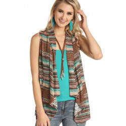Rock & Roll Cowgirl Juniors Pastel Brown Striped Vest