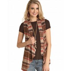 Rock & Roll Cowgirl Juniors Neutral Striped Vest