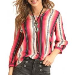 Rock & Roll Cowgirl Black Peach Stripe Blouse