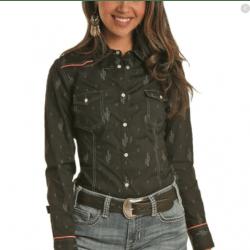 Rock & Roll Cowgirl Ladies Black Cactus Print Snap Shirt