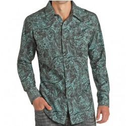 Rock & Roll Denim Men's Slim Fit Turquoise Black Paisley Snap Western Shirt