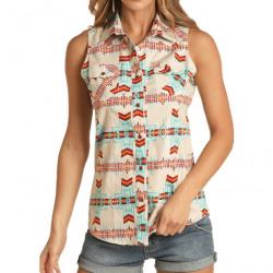 Rock & Roll Denim Ladies Sleeveless Aztec Snap Western Shirt