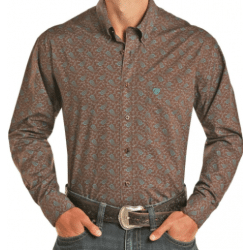 Rock & Roll Men's Classic Slim Fit Brown Turquoise Paisley Button Shirt